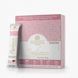RADIANCE PROTEIN BAR FRUTAS VERMELHAS COM CHOCOLATE BRANCO CAIXA (8 BARRAS) - ESSENTIAL NUTRITION