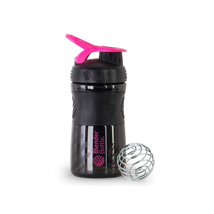 BLENDER BOTTLE SPORT MIXER PRETA COM ROSA (590ML) - BLENDER BOTTLE