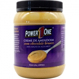 CREME DE AMENDOIM COM CHOCOLATE BRANCO SEM AÇÚCAR (1KG) - POWER ONE