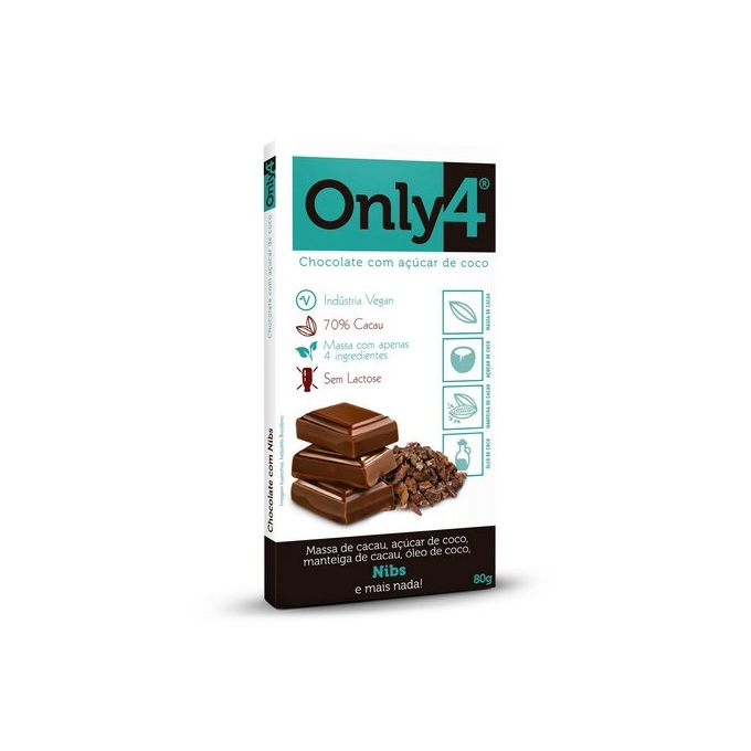 BARRA CHOCOLATE ZERO ONLY4 NIBS (80G) - ONLY4