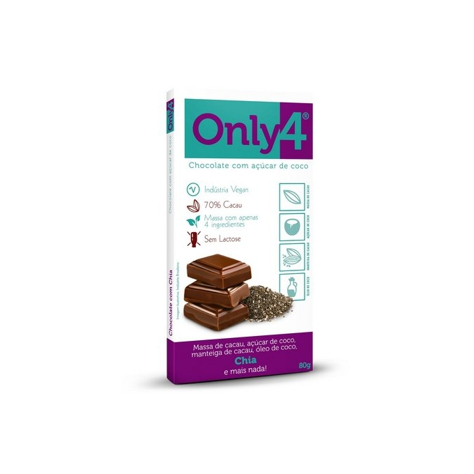 BARRA CHOCOLATE ONLY4 CHIA (80G) - ONLY4