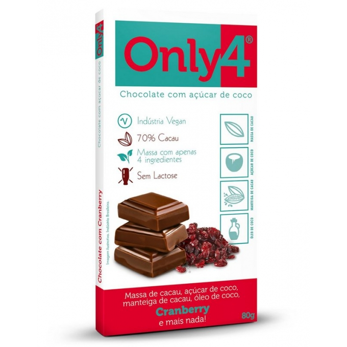 BARRA CHOCOLATE ONLY4 CRANBERRY (80G) - ONLY4